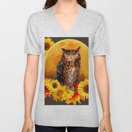 NIGHT OWL MOON SUNFLOWER ART Unisex V-Neck
