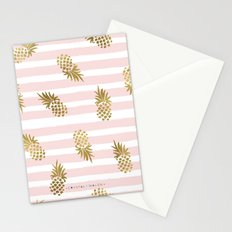 Pineapples-Gold-blushing-stripe Stationery Cards