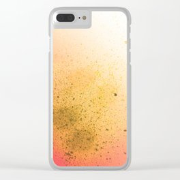 Summer Salmon and Yellow Spray Paint Splatter Clear iPhone Case