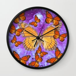 Orange Mariposas (Monarch Butterflies) on Lilac Color clouds Wall Clock