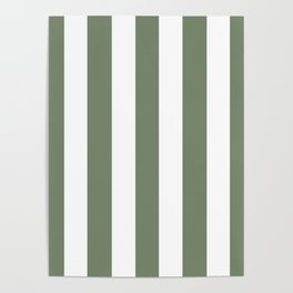 Camouflage green - solid color - white vertical lines pattern Poster