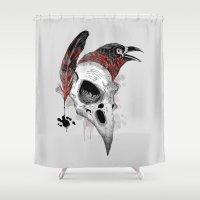 writer Shower Curtains featuring DARK WRITER by TOXIC RETRO