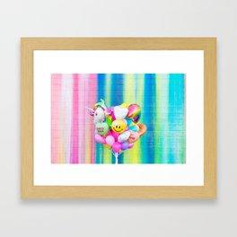 Colorful Balloons on Rainbow Wall Framed Art Print