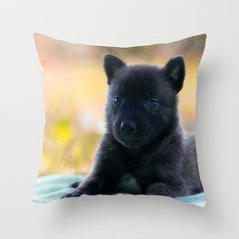 Cuter Herder Shepherd Puppy 4 weeks old Throw Pillow