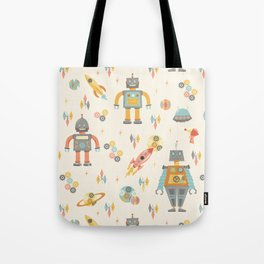 Vintage Inspired Robots in Space Tote Bag