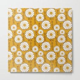 Harry Sunflower Shirt Flower Print Hippie Pop Art Floral Pattern Metal Print