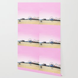 Santa Monica Pier with Ferries Wheel and Roller Coaster Against a Pink Sky Wallpaper