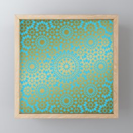 Moroccan Nights - Gold Teal Mandala Pattern 1 - Mix & Match with Simplicity of Life Framed Mini Art Print