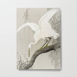 White Heron Sitting On A Tree Branch - Vintage Japanese Woodblock Print Art Metal Print
