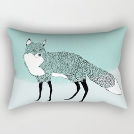 Fox in the snow – Animal Illustration – Kitsune in snow scene – vintage colors – antiqued colors Rectangular Pillow