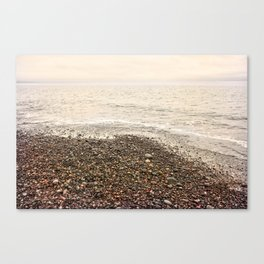 Dungeness Shoreline, Pebble Beach, Washington Seascape, Juan de Fuca, Coastal Photography Canvas Print