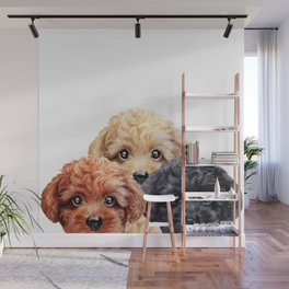 Toy poodle trio, Dog illustration original painting print Wall Mural