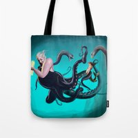 ursula Tote Bags featuring Ursula by Jehzbell Black