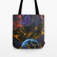 thanos Tote Bags featuring Marvel Thanos Infinity Gauntlet by Adam Worley