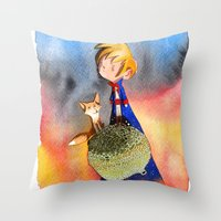 little prince Throw Pillows featuring Little Prince by Jose Luis Ocana
