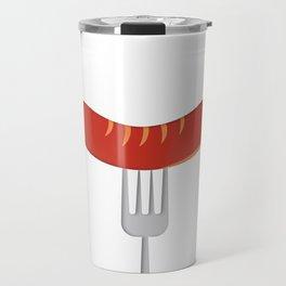 Feed Me Sausage on a Fork Travel Mug