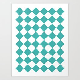 Large Diamonds - White and Verdigris Art Print