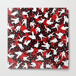 Ice Hockey Player Canada Flag Camo Camouflage Pattern Metal Print