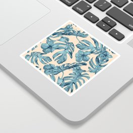 Island Vacay Hibiscus Palm Pale Coral Teal Blue Sticker