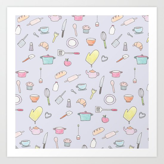 Cooking Pattern Art Print