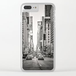 Sunset on 7th (Black and White Version) Clear iPhone Case