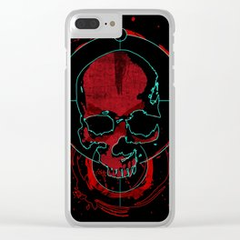 Skull red Clear iPhone Case