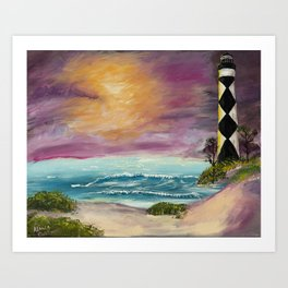 Cape Lookout Lighthouse Sunset Art Print