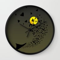 bats Wall Clocks featuring Bats by Badamg