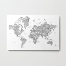Grayscale watercolor world map with cities Metal Print
