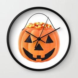 Halloween Jack O Lantern Pumpkin Pail With Candy Corn Wall Clock