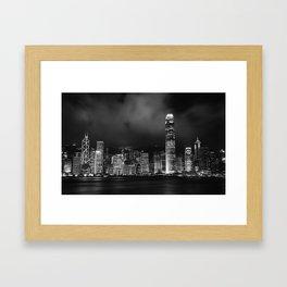 Hong Kong Skyline [Black & White] Framed Art Print