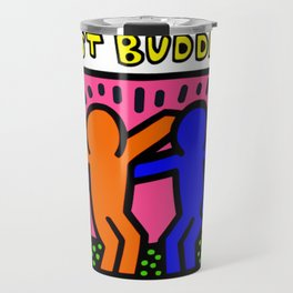 "Keith Haring inspired ""Best Buddies"" Complementary Color O&B edition Travel Mug"