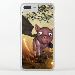 Funny little piglet with wings Clear iPhone Case