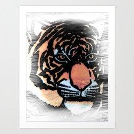 FADED TIGER Art Print