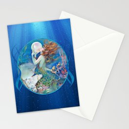 Sensual Art Deco Pearl Mermaid Stationery Cards