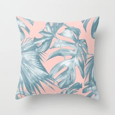 Tropical Leaves Ocean Blue on Coral Pink Throw Pillow