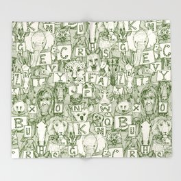 animal ABC green ivory Throw Blanket