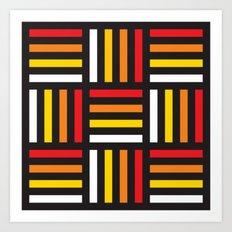 Geometric Pattern #166 (red yellow stripes) Art Print