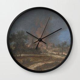 Brand in een dorp, Barbara Regina Dietzsch, Christoph Ludwig Agricola, 1716 - 1783 Wall Clock