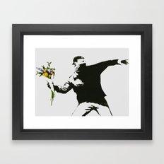 BANKSY FLOWER THROWER GRAFFITI STREET ART  Framed Art Print