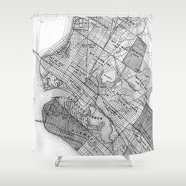 Vintage Map of Oakland California (1878) BW Shower Curtain