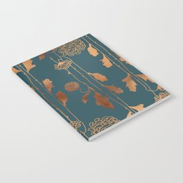 Art Deco Copper Flowers Notebook