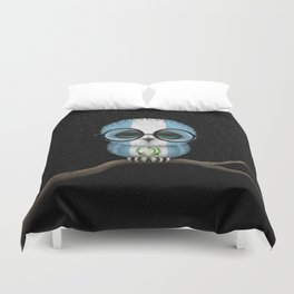 Baby Owl with Glasses and Guatemalan Flag Duvet Cover