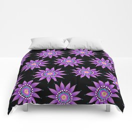 Passionflower on black Comforters