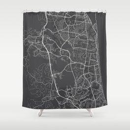 Gold Coast Map, Australia - Gray Shower Curtain