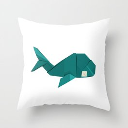 Origami Whale Throw Pillow