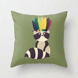 Indian Raccoon Throw Pillow