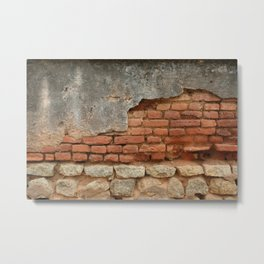 Broken Wall with red Bricks Metal Print
