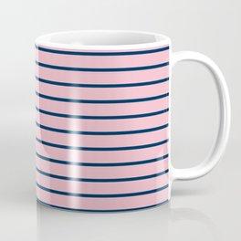 Pink and Navy Blue Horizontal Stripes Coffee Mug