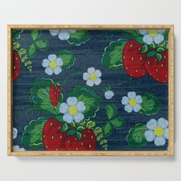 Strawberries and Daisies - Strawberry Patch  - Fruit Serving Tray